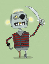 Robot Pirate greeting card