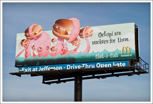 McDonalds Billboards Advertising Illustration Filet-O-Fish Octopus © RAWTOASTDESIGN