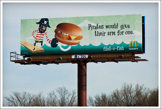 Advertising Illustration McDonalds Billboards Advertisements Filet-O-Fish Pirate © RAWTOASTDESIGN