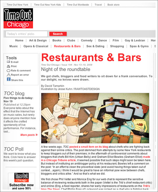 Time Out Chicogo, Restaurants and Bars, Chefs, Bloggers, Food Writers, Jesse Kuhn, RAWTOASTDESIGN